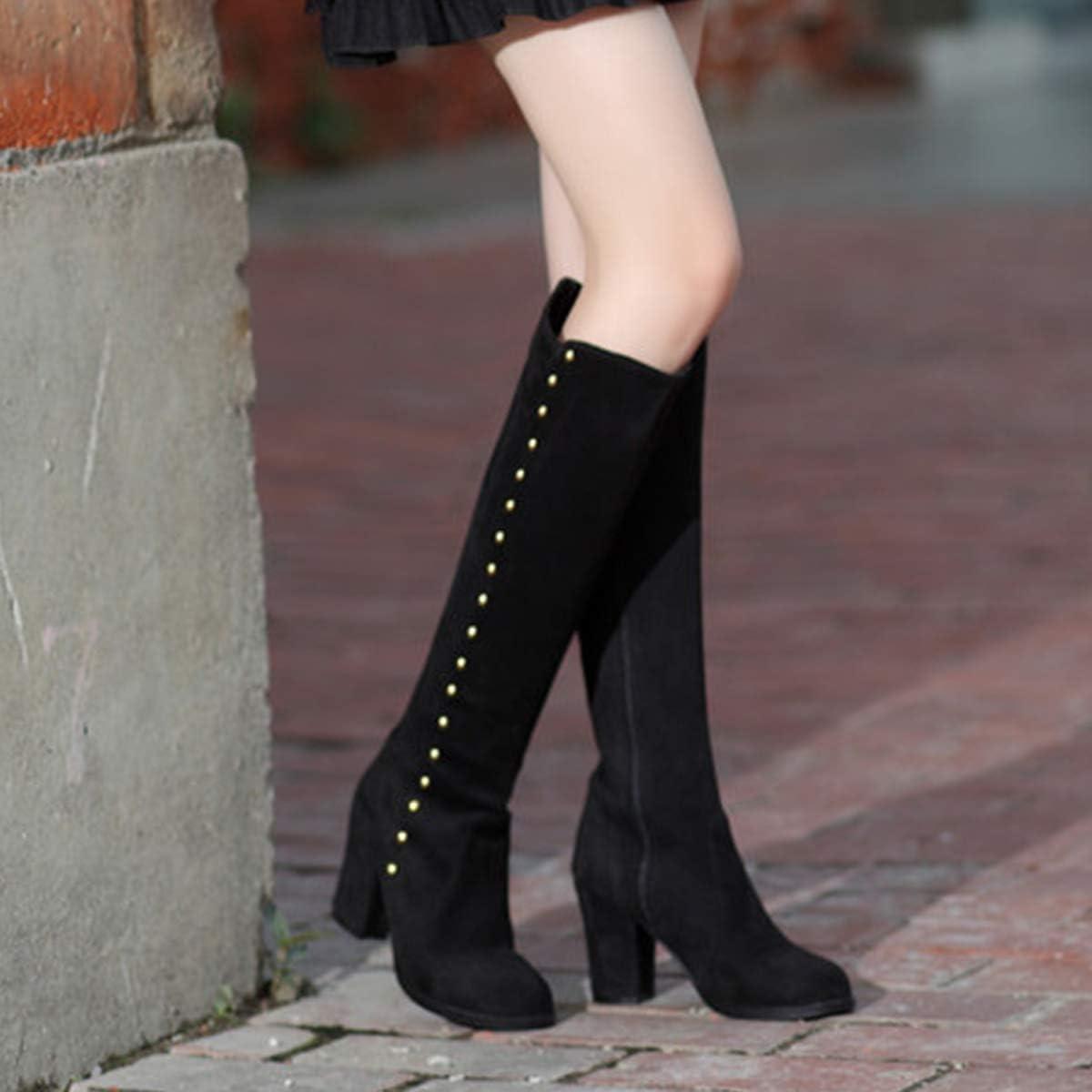 LILIAAS De Las Mujeres De Alta Botas De Ante, Cierre Relámpago del Lado Remaches Calentar Moda Versátil Jinete Botas Black LvSo6