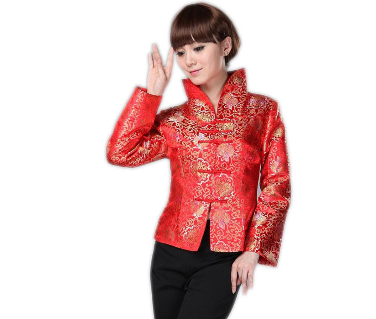 JTC Royal Chinese Top Womens Costume Jacket Coat Long Sleeve Clothing Red (XL)