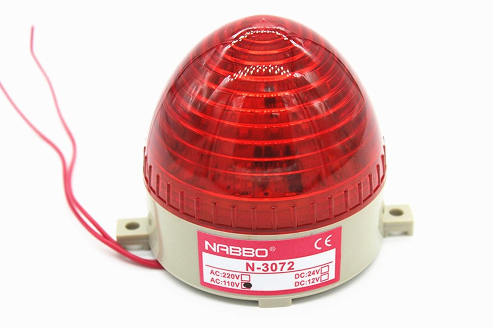 Nxtop AC 110V Red LED Warning Light Bulb Signal Tower Lamp N-3072 Steady Flash