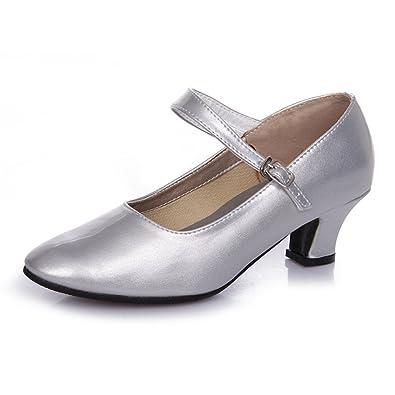 WYMNAME Womens Latin Tanzschuhe,Mittleren Heels Gum Bottom Moderner Tanzschuhe Outdoor-Square Dance Schuhe-Silber Fußlänge=23.3CM(9.2Inch)