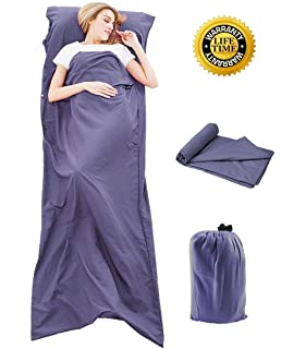Comfort Spaces Sleeping Bag Liner Ultra Light and Compact Coolmax Anti Bug//Germs Sleeping Sheet Bag Camping Hiking and Backpacking. Great for Traveling with Pillow Pocket and Travel Pouch