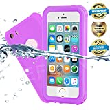 EFFUN Waterproof iPhone 5/5S/SE Case, IP68 Certified Waterproof Underwater Cover Dustproof Snowproof Shockproof Case with Cell Phone Holder, PH Test Paper, Stylus Pen and Floating Strap Purple
