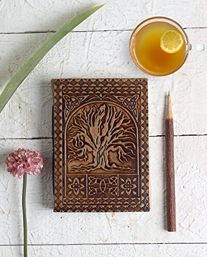 Tree of Life Leather Travel Journal Diary Notebook with Thread Closure Embossed 7X5 Inches (Halloween Store Hours)