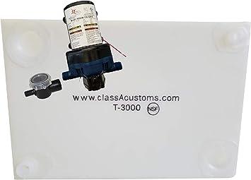33 Gallon RV Concession Fresh Water Tank with Plumbing Kit /& 12 Volt Water Pump Class A Customs T-3300-BPK-PUMP