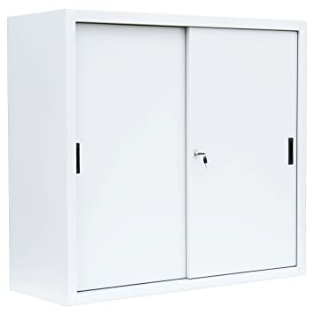 Aktenschrank abschließbar weiß  Schiebetürenschrank Büro Aktenschrank Sideboard WEISS aus Stahl ...
