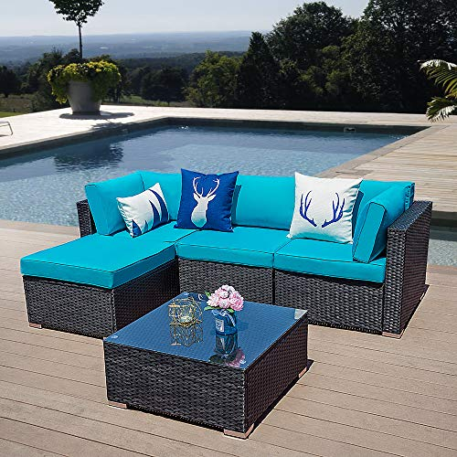 5 Piece Patio Furniture Set, Paito All Weather Black PE Wicker Sectional Sofa, Outdoor Conversation Furniture Set with Glass Table, Removable Blue Cushions