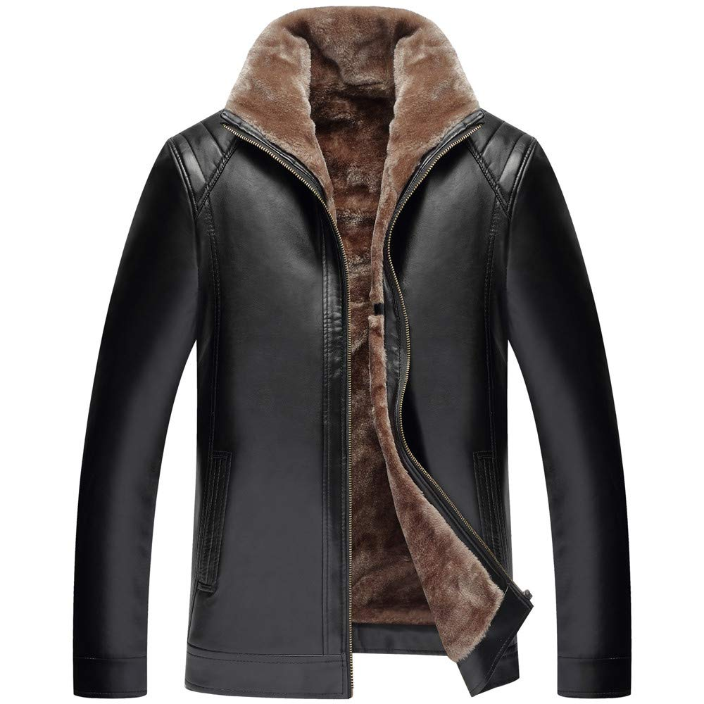 Men's Winter Coat Fashion Casual Warm Pure Color Zipper Artificial Leather Jacket Black by GREFER