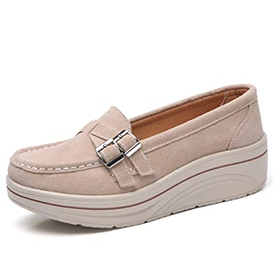 c084983c91f9b Amazon.com | Z.SUO Womens Wide Platform Penny Loafers Slip On Wedge ...
