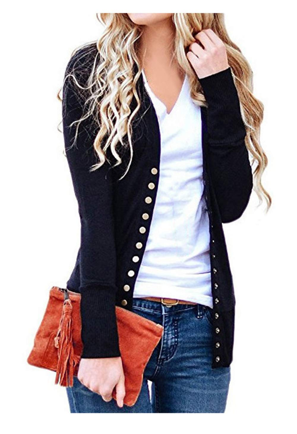 Finoceans Button Down Open Front Cardigans for Women Long Sleeve Tops Black 2XL