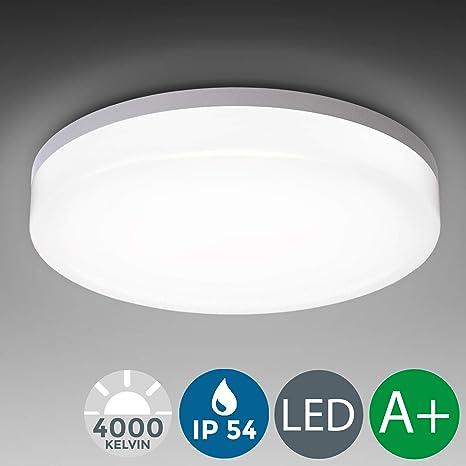 Plafón LED blanco I Panel LED de 18W Lámpara de techo moderna para baño LED Ø280mm IP54 I Plafón I Exterior y Interior I Blanco frío 4000K I 2400LM
