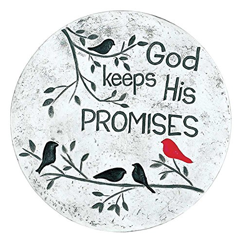 God Keeps His Promises Black and Red Birds on Branches 10 inch Gray Garden Stepping Stone