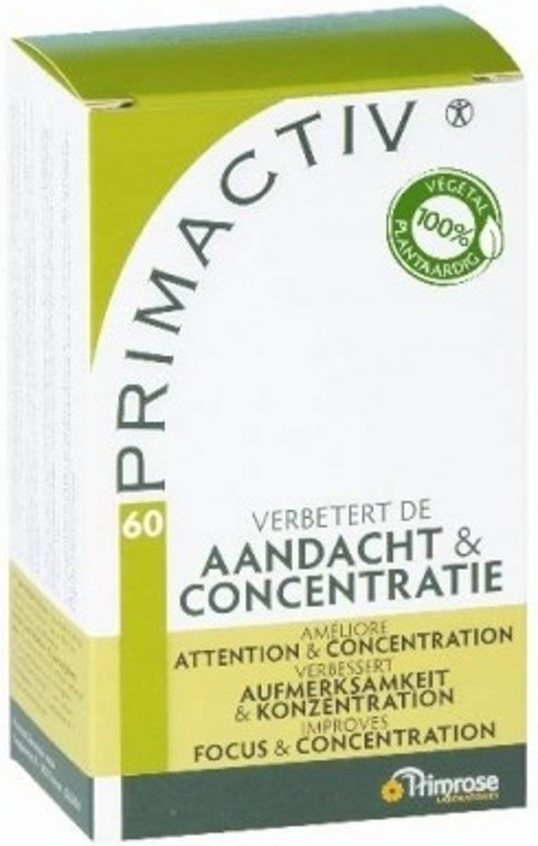 Primrose Primactiv 60 Capsules - Dietary Supplement - Keep Your Calm and Focus - Promote Concentration - Lower Temporary Stress - Natural Ingredients - Adults & Adolescents - Netherlands