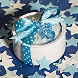 These darling favors are sure to be a hit at your baby boy's shower. Each round metal tin is filled with star shaped blue and white bath confetti and then finished with a blue polka dot ribbon and a blue pacifier charm.
