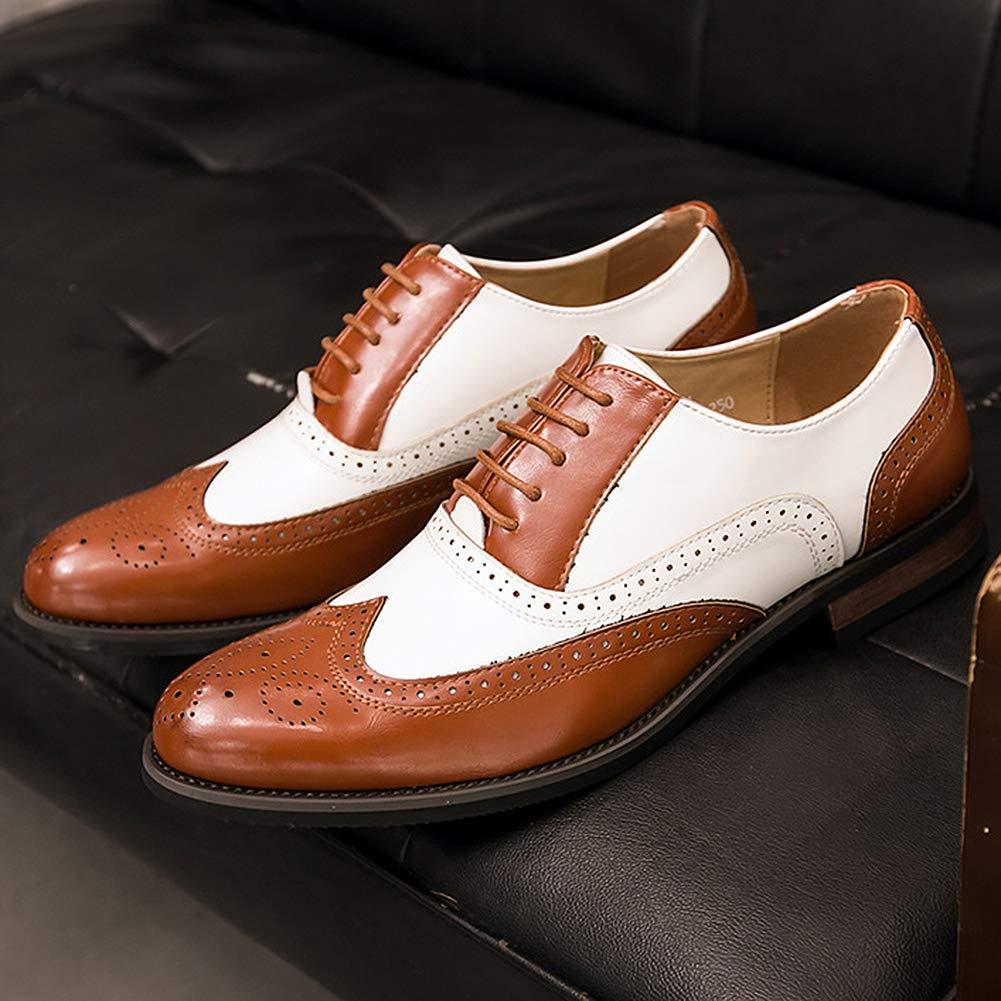 Wealsex Bout À Chaussures Homme Bicolore Cuir Pointu De Vintage Mariage Lacets Oxford Dressing Brogues Pu Ville 0w8nOvmN