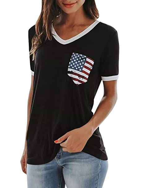 56c48d659f2 JOYCHEER Womens V Neck Tops Summer Short Sleeve American Flag Print Casual  Tee T-Shirts at Amazon Women s Clothing store