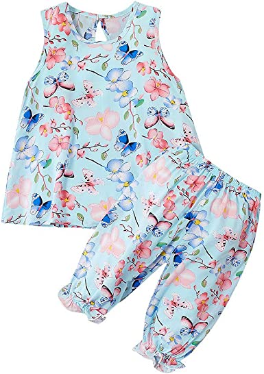 Hatoys Infant Baby Girls Sleeveless Solid Ruffles Tops+Suspender Shorts Outfits Sets