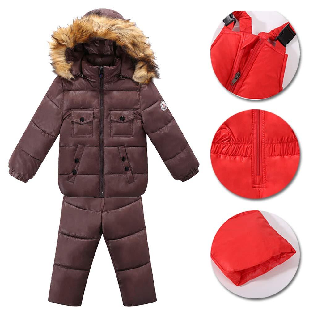 2 Pezzi Tuta da Sci con Cappuccio Unisex Set Tute Completo da Neve Snowsuit Caldo Giacca Cappotto XFentech Invernale Bambino Giubbotto