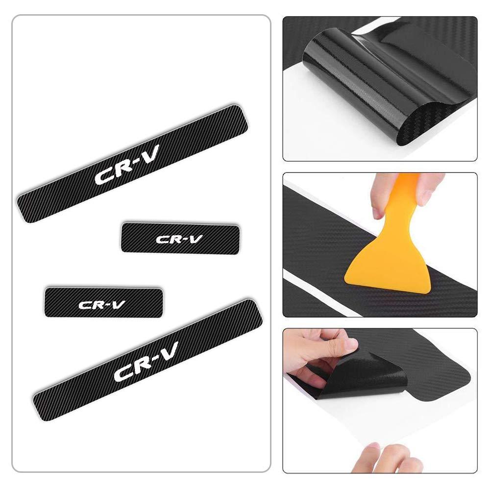 For Honda Cr-V Door Sill Protector Reflective 4D Carbon Fiber Sticker Door Entry Guard Door Sill Scuff Plate Stickers Auto Accessories 4Pcs Blue