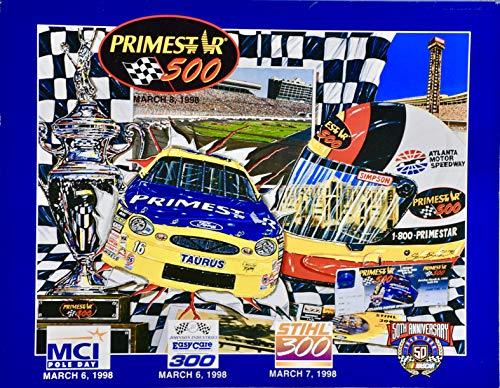 (1998 - NASCAR 50th Anniversary - Atlanta Motor Speedway - Primestar 500 Official Souvenir Program - Sam Bass Cover Art - Rare - Collectible)