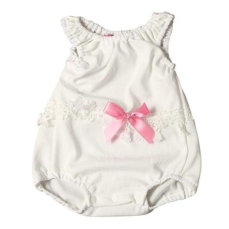webla recién nacido bebé niña encaje costura Sleevess Pelele Mono blanco blanco Talla:18 M