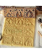 Rolo da Massa Gravado em Madeira de Natal Rolo da Massa 3D Padrão de Natal Rolo de Massa em Madeira Natural Ferramenta DIY com 9 cenas diferentes para assar biscoitos em relevo