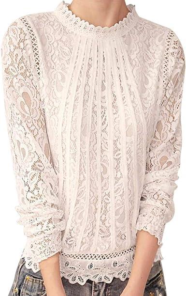 VJGOAL Moda Mujer Gasa Color sólido de Manga Larga O Cuello Sexy Encaje Tops Casuales Blusa Camiseta: Amazon.es: Ropa y accesorios