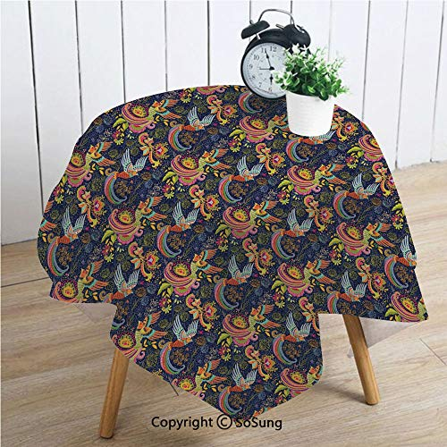 (Asian Square Polyester Tablecloth,Cartoon Style Abstract Birds with Floral Arrangement Traditional Polka Dots Foliage Decorative,Dining Room Kitchen Square Table Cover,42W X 42L inches,Multicolor)