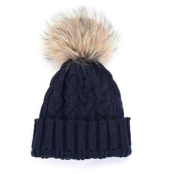 Amazon.com  ABC® Women Winter Crochet Hat Fur Wool Knit Beanie Raccoon Warm  Cap (Black)  Clothing 9de4bf8a404f