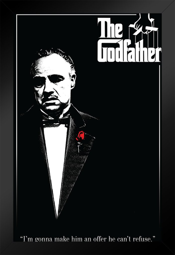 Pyramid America The Godfather Red Rose Movie Framed Poster 14x20 inch