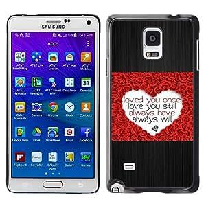 Stuss Case / Funda Carcasa protectora - Love Heart Rose Brushed Metal Valentines - Samsung Galaxy Note 4 SM-N910