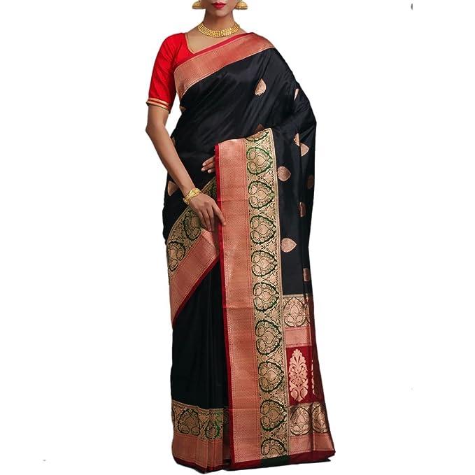 8d33773fa ehandloom Women's Katan Silk Banarasi Saree (BSS205, Black): Amazon.in:  Clothing & Accessories