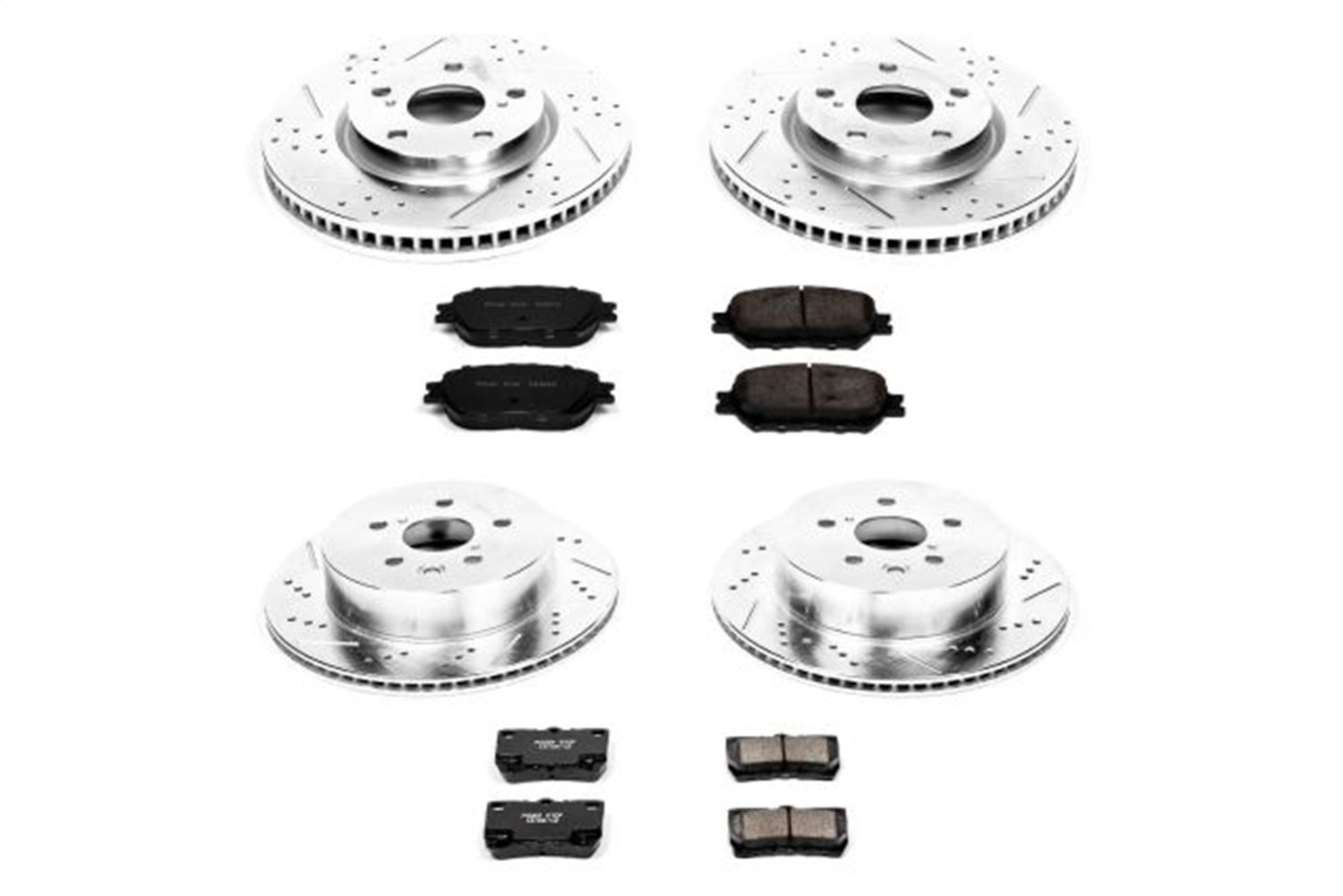 Power Stop K4072 Front and Rear Z23 Evolution Brake Kit with Drilled/Slotted Rotors and Ceramic Brake Pads