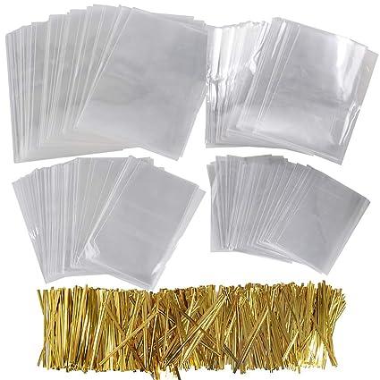 400pcs Bolsas Transparentes Celofán Plástico Pequeñas OPP con 800 Lazos 10cm Dorado para Regalos Dulces Chuches Caramelos Galletas Piruletas Bombones ...