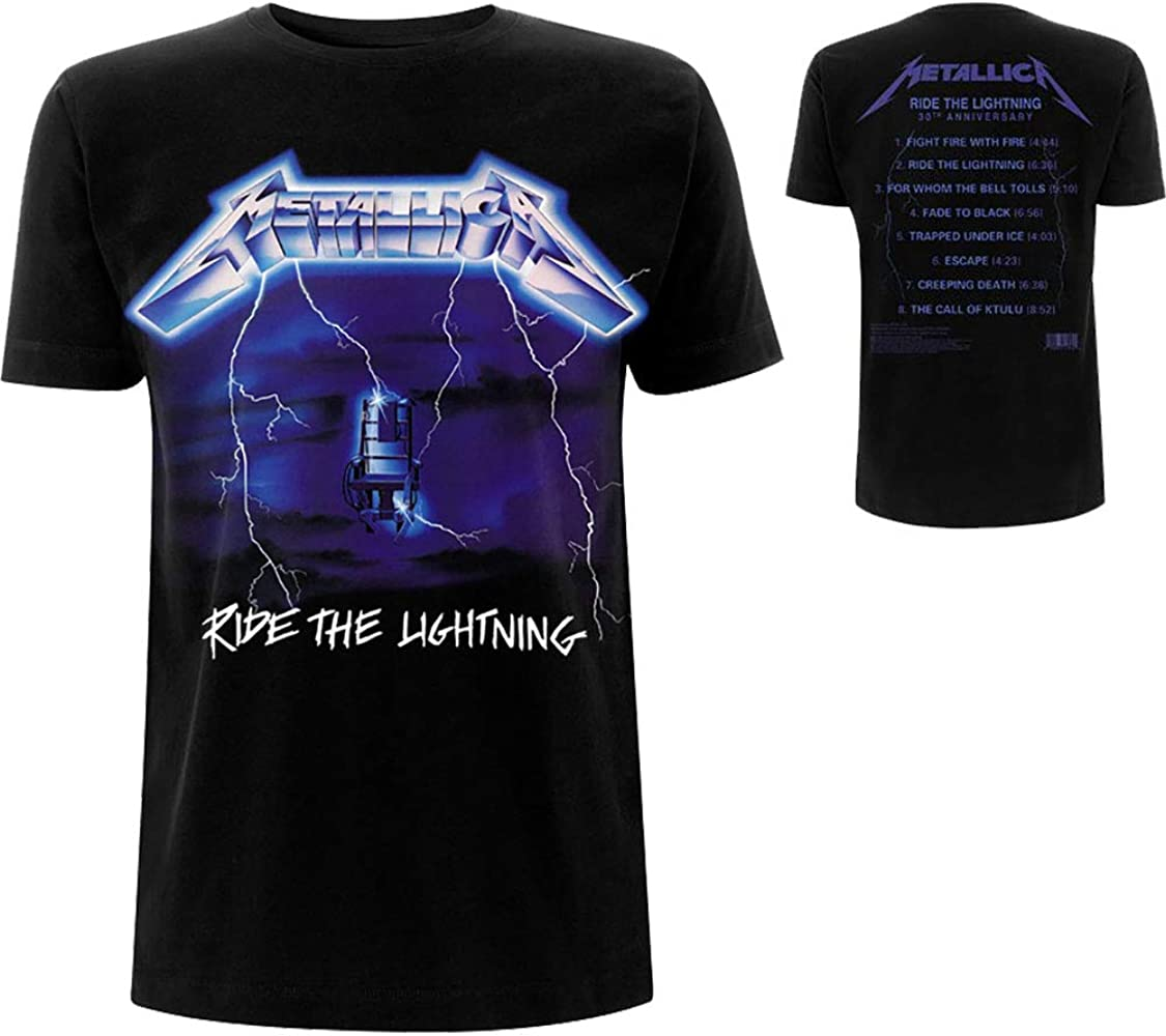 Metallica Ride The Lightning Tracks_Men_bl_TS: S Camiseta, Negro (Black Black), Small para Hombre: Amazon.es: Ropa y accesorios