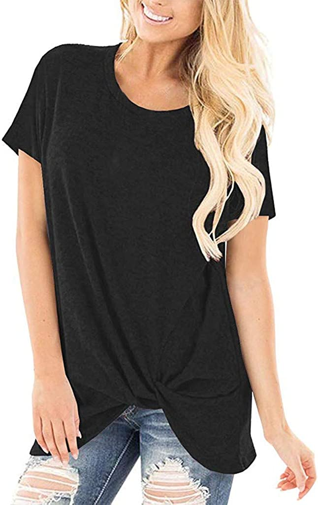 Shirt muyuhan Long Tunic Tops for Women Solid Short Sleeve O Neck Blouse Twist Knotted T