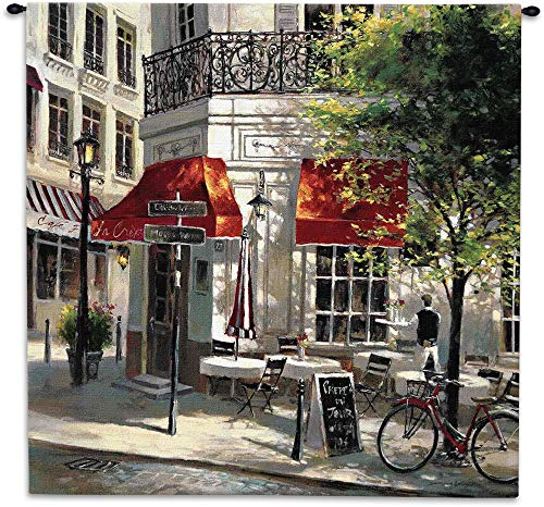 Corner Cafe by Brent Heighten | Woven Tapestry Wall Art Hanging | Paris Street Corner Coffee | 100% Cotton USA Size -