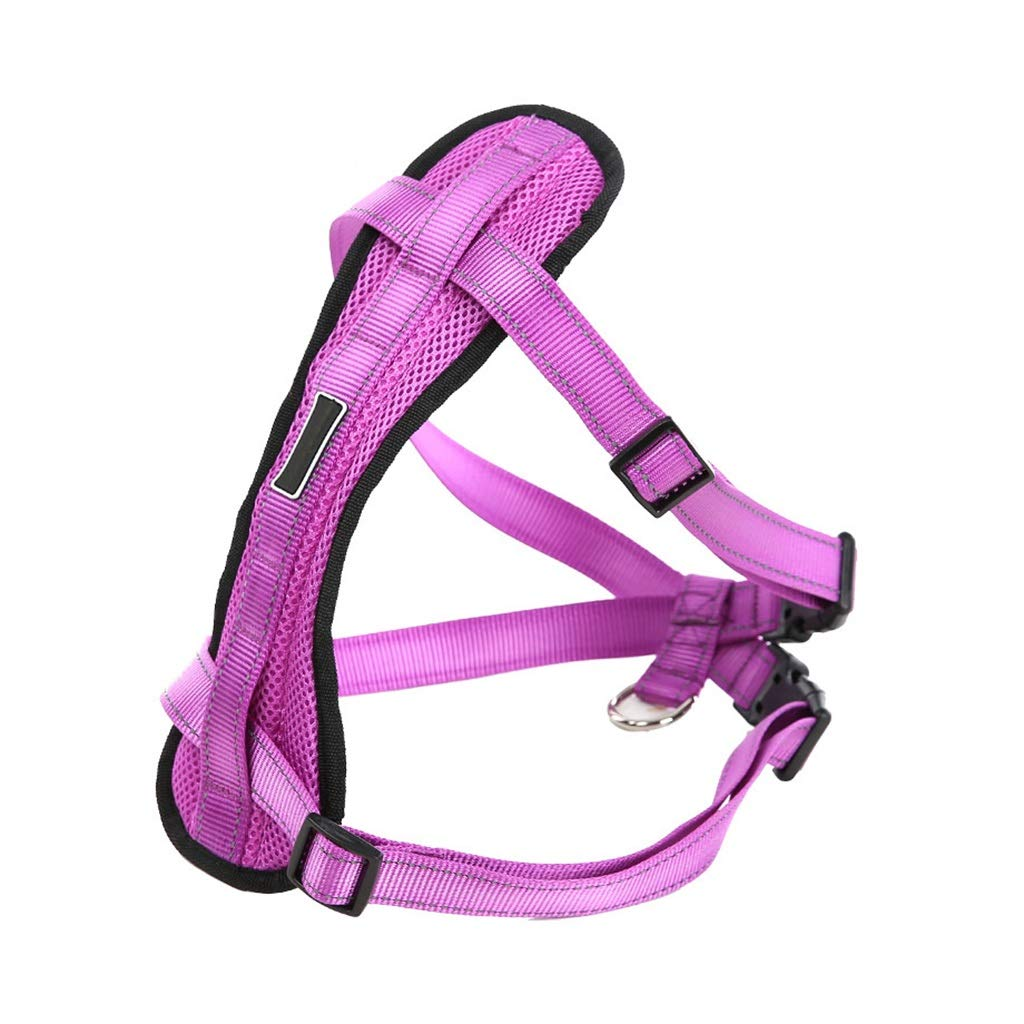 PURPLE L PURPLE L Dog Vest Harness, Chest Strap Adjustable Reflective Easy Control for Small Medium Large Dogs Training Walking Outdoor Collars Safety Buffer Rope Chain (color   Purple, Size   L)
