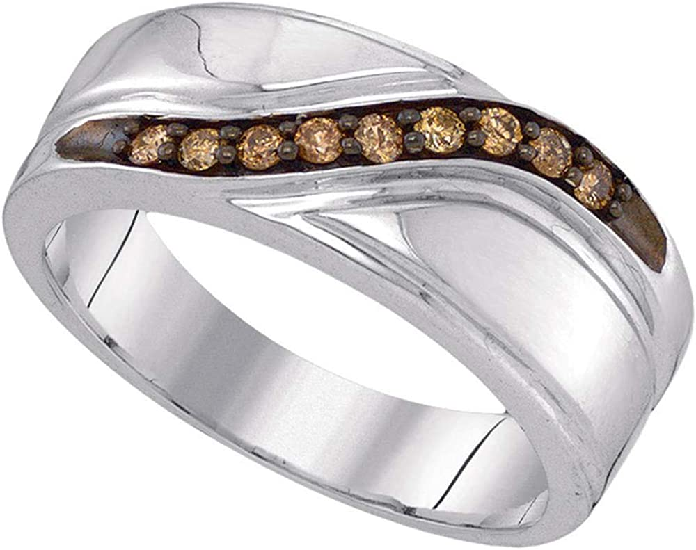 Sterling Silver Mens Round Brown Diamond Wedding Band Ring 1//4 Cttw