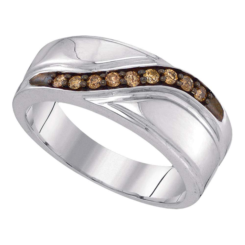 GnD Sterling Silver Mens Round Cognac-Brown Colored Diamond Band Wedding Anniversary Ring 1//4 Cttw