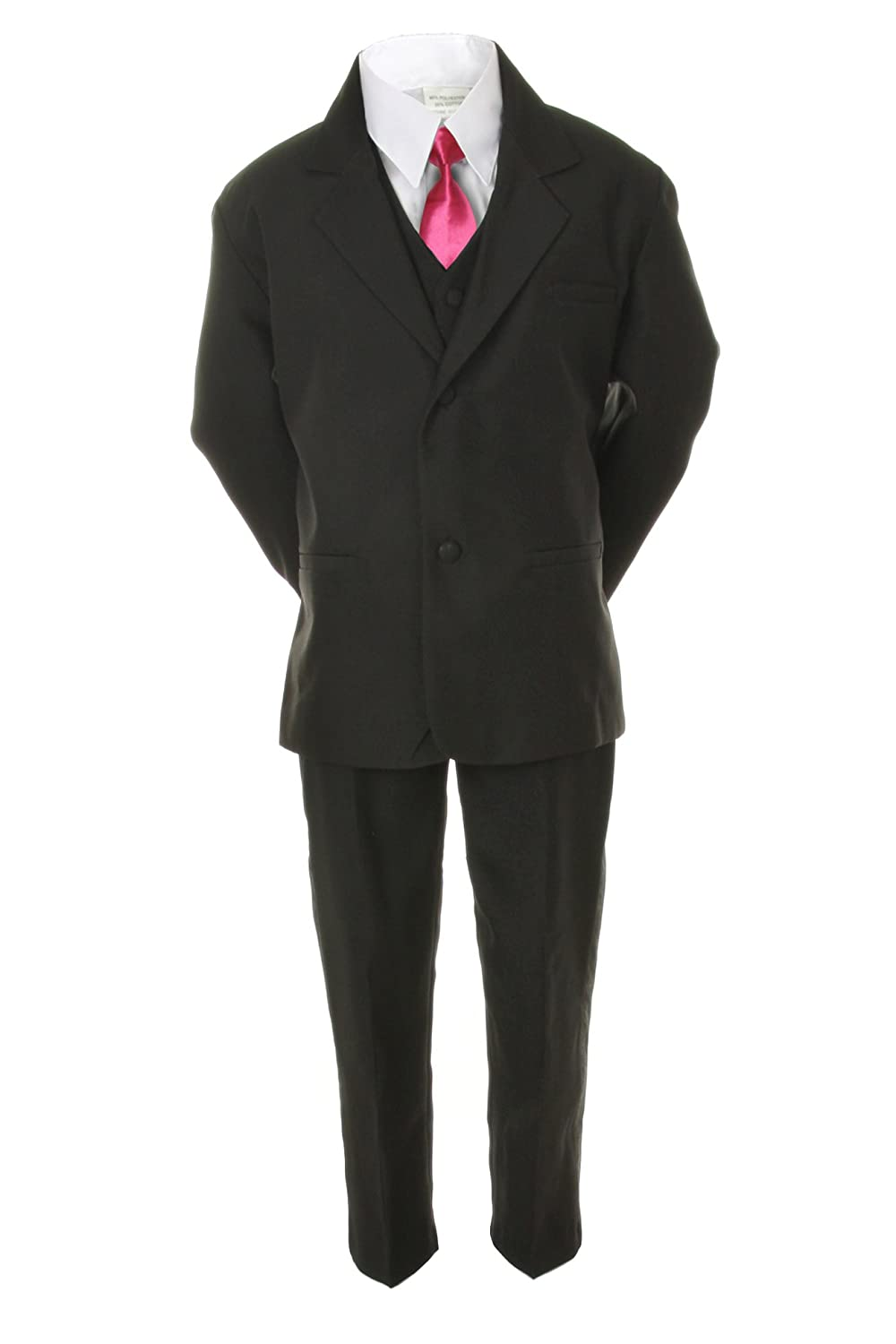 Unotux 6pc Boys Suit with Satin Fuchsia Necktie from Baby to Teen