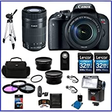 Canon EOS Rebel T7i DSLR Camera with EF-S 18-135mm f/3.5-5.6 IS STM Lens & EF-S 55-250mm f/4-5.6 IS STM Lenses PRO Bundle; 32GB SDHC Memroy Cards (2 pieces) + Telephoto & Wide Angle Lenses + more ...