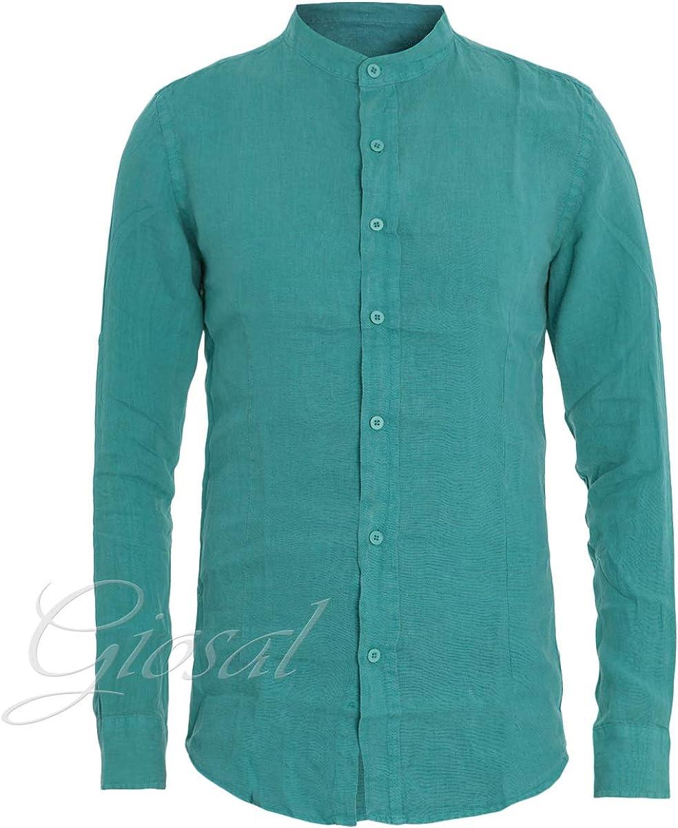 Giosal - Camisa de Hombre con Cuello de Coreano, Color Verde petróleo y Lino, Manga Larga Verde Petrolio L: Amazon.es: Ropa y accesorios