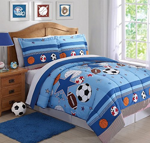 2 Piece Kids Twin Blue Sports Theme Stars Basketballs Footballs Baseballs And Soccer Balls Comforter Set Perfect For A Sports Fan by D&H