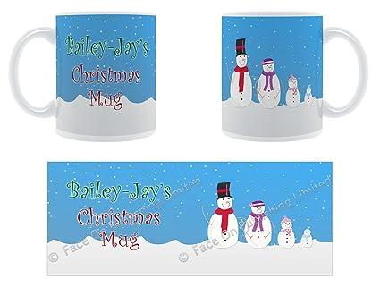 Bailey-JAY de Navidad taza – nieve diseño de la familia – Ovillo de cerámica