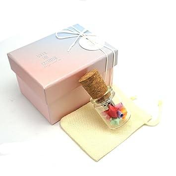 LUCKCRAZY USB Flash Drives 16 GB Gift Set Botella de Vidrio USB Stick Regalos con Linda