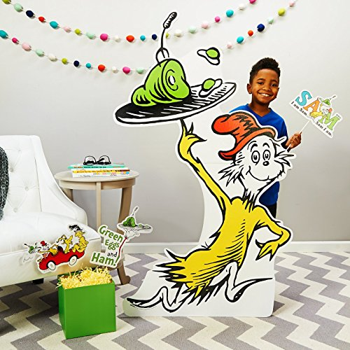 BirthdayExpress Dr Seuss Party Room Decorations - Green Eggs and Ham Life Size Cardboard Stand -