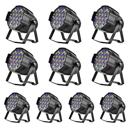 Eyourlife-10-Pcs-54-x-3-W-LED-Par-Lights-Cast-Aluminum-Shell-Stage-Effect-Lighting-LED-162-Watt-RGBW-PAR-64-DMX512-Stage-DJ-Bar-Events-Club-Wedding-Party-Show