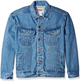 Wrangler Men's Classic Denim Jacket-Motorcycle Edition, Vintage Denim, XL
