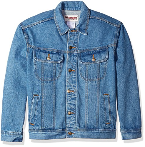 Wrangler Men's Classic Denim Jacket-Motorcycle Edition, Vintage Denim, L