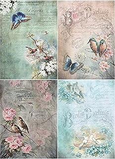 Reispapier A4 Strohseidenpapier Motiv-Strohseide Margeriten mit Schmetterlinge Decoupage Papier